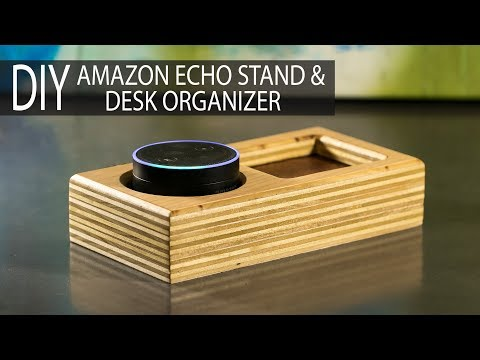 DIY Amazon Echo Stand / Desk Organizer from Scrap Plywood & Leather - How to Make