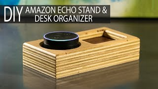 DIY Amazon Echo Stand / Desk Organizer from Scrap Plywood & Leather (#kregonesheetcontest)