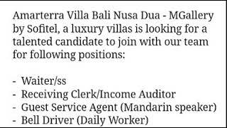 Info Lowongan Kerja Terbaru Nusa Dua Bali