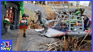 Raptor Escaped!! Jurassic World Playmobil Tyrannosaurus Rex Playsets Toy For Kids [Jjtoy Tv]