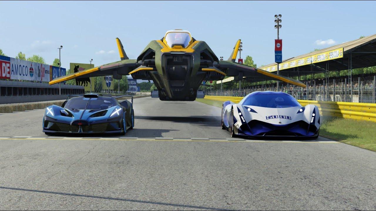 SF Fighter B vs Devel Sixteen vs Bugatti Bolide at Monza Full Course