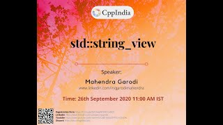 CppIndia - std::string_view by Mahendra Garodi