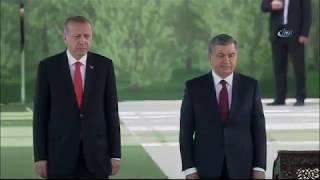 Cumhurbaşkanı Erdoğan, Özbekistan'da Resmi Törenle Karşılandı