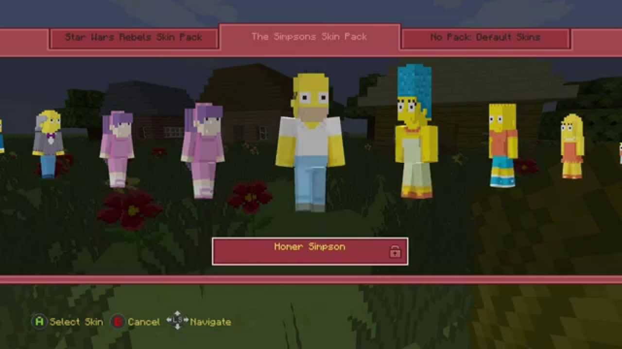Minecraft Simpsons Skins For Xbox One Quicklook YouTube - Skins para minecraft quick