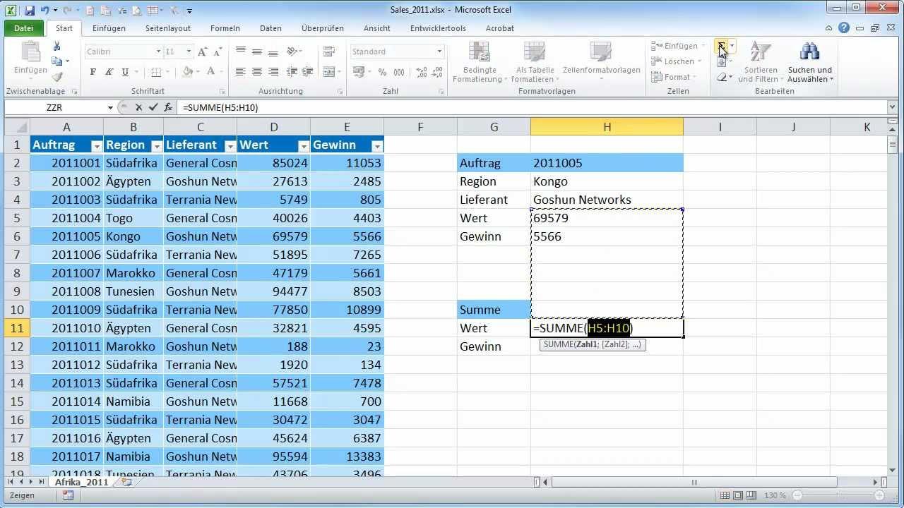Excel-Tabellen - Teil 04 - Tabellennamen in Formeln - YouTube
