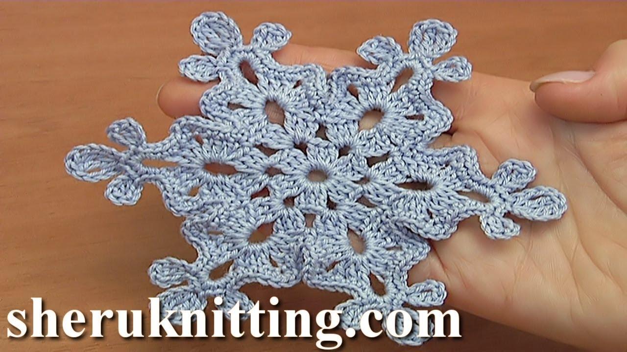 How To Make A Crochet Snowflake Tutorial 37 Youtube