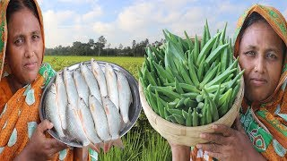 FARM FRESH Lady's Finger With Mrigal Fish Recipe Bhindi Masala Curry Okra Jhol Cooking Village Food