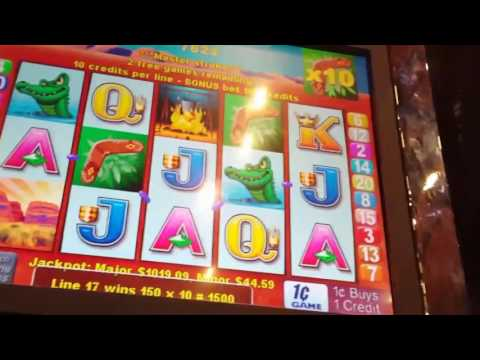 Outback Jack slot machine bonuses! Max bet, Big wins with rare gold mine bonus!