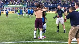 Steve Zakuani & Brian Mullan Exchange Jerseys, Seattle Sounders vs Colorado Rapids