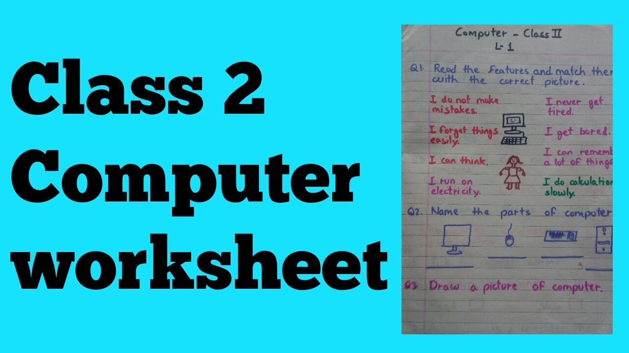 Class 2 Computer Worksheet    Computer worksheet for class 2    Chapter -  1   Features and types... - YouTube [ 720 x 1280 Pixel ]