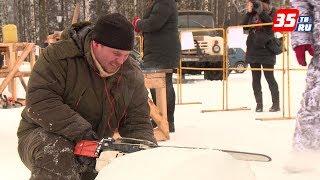 Собак изо льда начали выпиливать скульпторы в Череповце