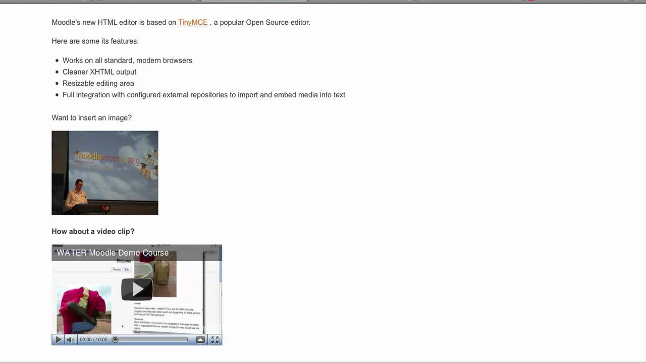 HTML editor in Moodle 2 0