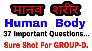 मानव शरीर से संबंधित 37 महत्वपूर्ण प्रश्न || Human Body || General Science Questions for Railway ||