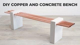 DIY White Concrete and Copper Bench