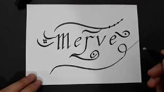 Kaligrafi İle Merve İsmi Yazımı__How to draw a Calligraphy