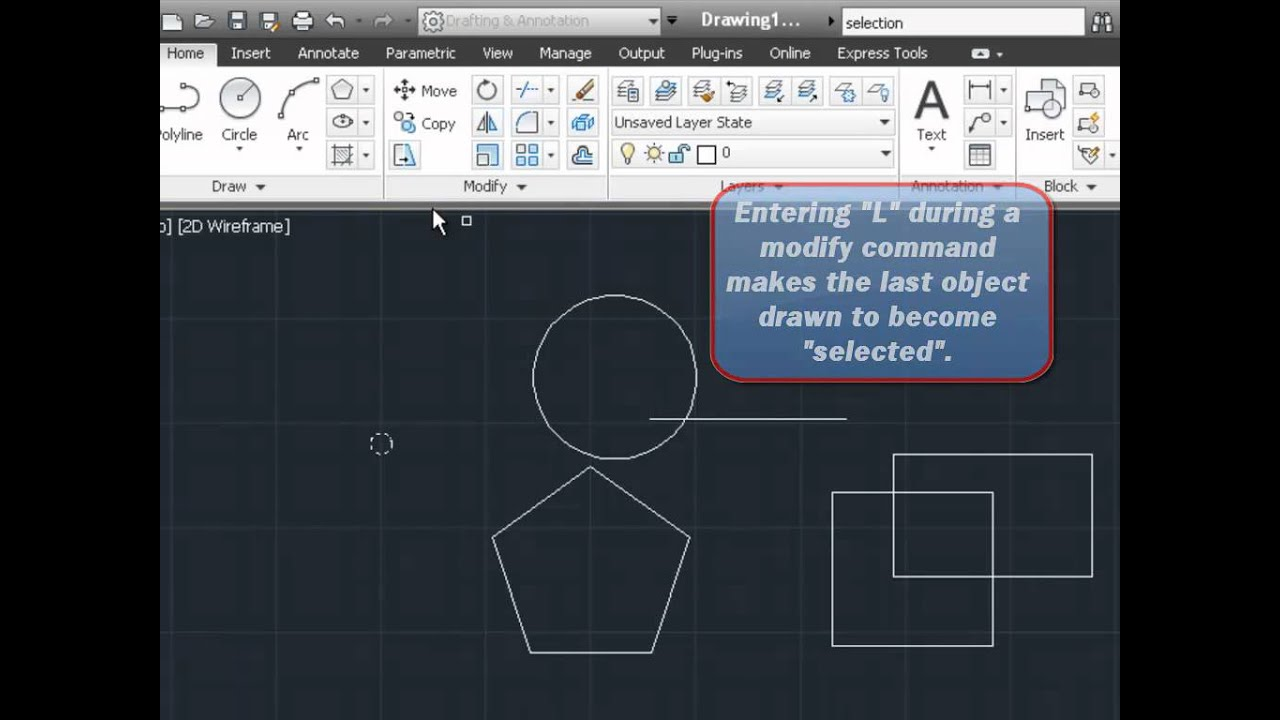 autocad 2012 move copy rotate mirror commands youtube