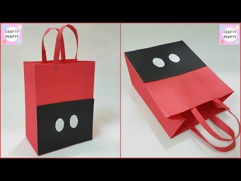 How to make Paper Bag / DIY Mickey mouse Paper Bag/ DIY Paper bag for treat/DIY Goodie Bag/Candy bag