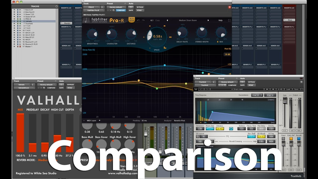 Comparison - Fabfilter Pro-R, ValhallaRoom and Waves Trueverb