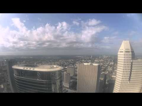 Rain cloud movement over Downtown Houston