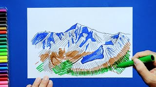 How to draw and color Mount Everest - Himalayas Mountains