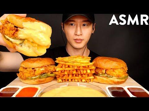asmr-cheesy-popeyes-chicken-sandwiches-&-fries-mukbang-(no-talking)-eating-sounds-|-zach-choi-asmr