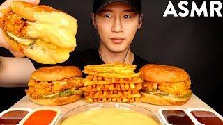 ASMR CHEESY POPEYES CHICKEN SANDWICHES &amp FRIES MUKBANG (No Talking) EATING SOUNDS  Zach Choi ASMR