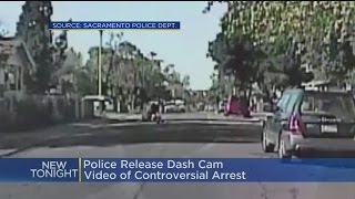 The video shows an officer confronting a man over alleged jaywalkin...