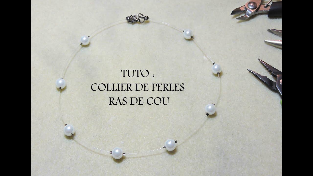collier perle et fil de peche