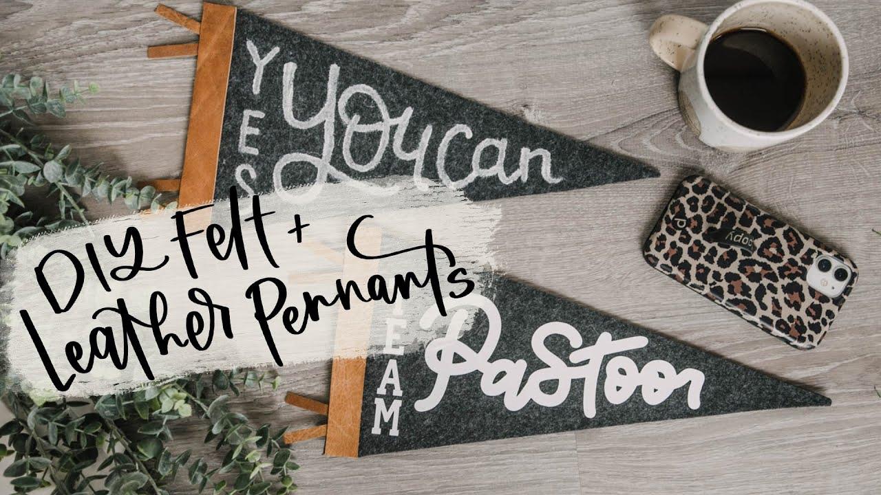 Leather and Felt DIY Handlettered Pennant (2 Ways!)