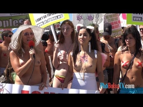 Protest for equal rights to go topless, Venice Beach, August 2012