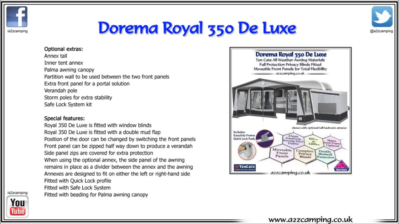 Dorema Royal 350 Deluxe Permanent Pitch Caravan Awning
