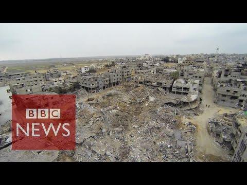 Drone footage reveals Gaza destruction - BBC News