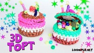 3Д ТОРТ - ШКАТУЛКА из резинок  Лумигуруми. Rainbow Loom 3D Cake Loomigurumi.