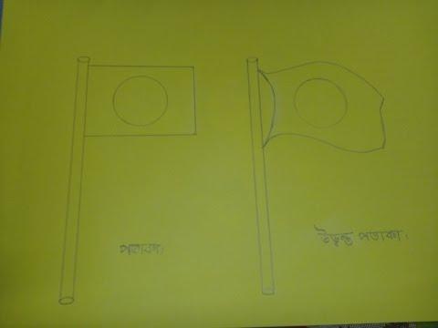 দুই ধরনের জাতীয় পতাকা আঁকা/Bangladeshi National flag drawing for kids.