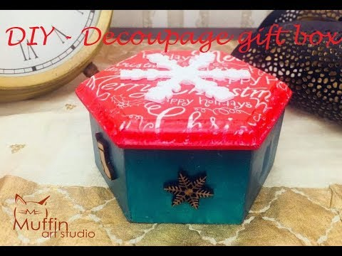 DIY,  How to decoupage a Christmas themed Wooden Gift Box, By Nargis Khan