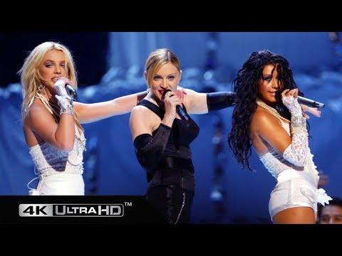 Madonna, Britney Spears, Christina Aguilera & Missy Eliot  - Like A Virgin/Hollywood (VMA 2003) 4K
