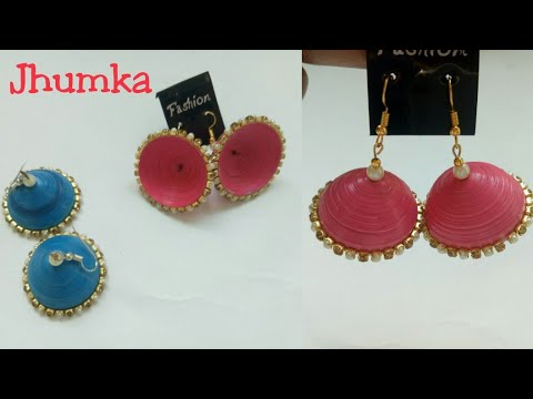 DIY Quilling Jhumka/Quilling jhumka making without mould/New ideas for jhumka earring/Earrings