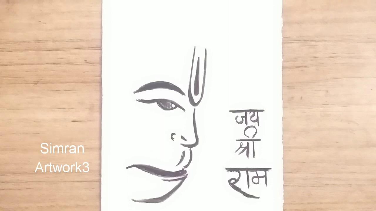 Hanuman Drawing Easy For Kids How To Draw Lord Hanuman Using Charcoal Youtube