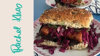 Rachel Khoo's Hot Dogs With Balsamic Onions And Red Cabbage Slaw