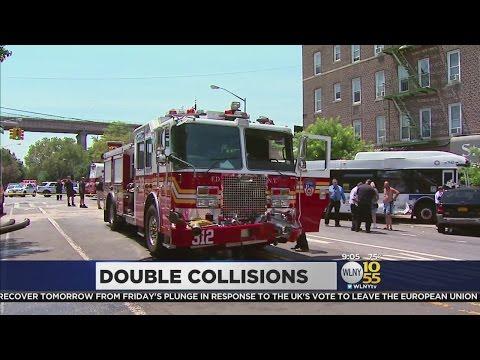 Queens fire truck crashes