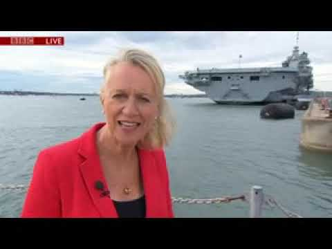 HMS Queen Elizabeth arrives at Portsmouth. BBC South Today News 16/08/2017