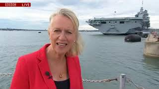 HMS Queen Elizabeth arrives at HMNB Portsmouth. BBC South Today News 16/08/2017