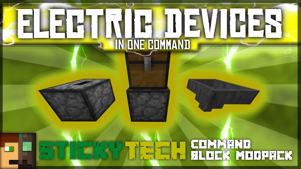 Minecraft One Command - QUARRIES AND MORE  Electric Devices [StickyTech  Cmd Block Modpack]
