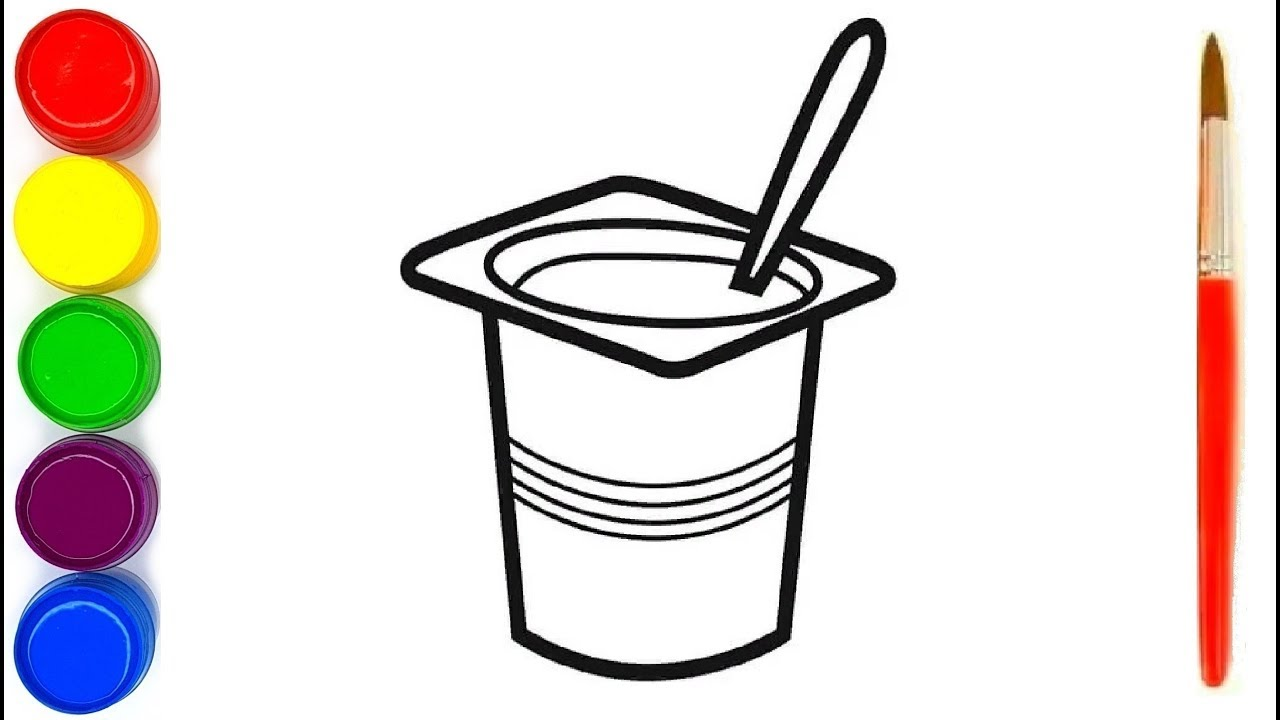 coloring page for kids yogurt - YouTube