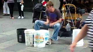 Australia got talent in music - street drummer, Pitt Street, Sydney, Australia