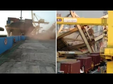 Containership Crashes into STS Crane and RAMs another ship at Semarang Port