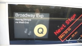 [HD] On board R160 Q train via The D line [Coney Island to Bay Parkway] via West End Express