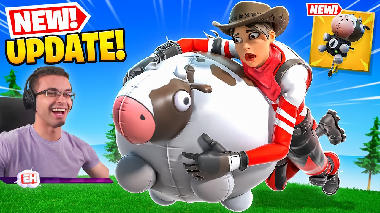 Nick Eh 30 reacts to FLYING COWS in Fortnite!