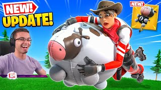 Nick Eh 30 reącts to FLYING COWS in Fortnite!