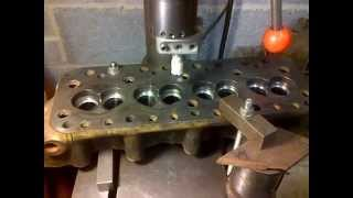 BMC A-series Unleaded valve seat install using pillar drill
